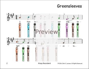 Recorder Songs - Greensleeves - Digital Print
