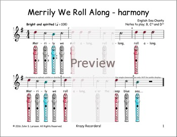 Recorder Songs - Merrily We Roll Along Duet 1