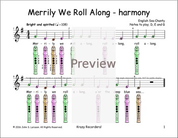 Recorder Songs - Merrily We Roll Along Duet 2