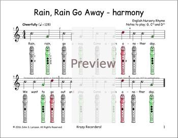 Recorder Songs - Rain, Rain Go Away Duet