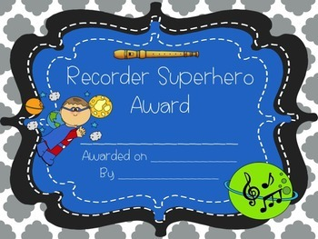 Recorder Superhero Themed Awards Set