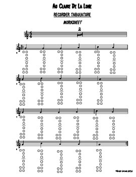 Recorder Tabulature WORKSHEET, Au Claire de la Lune