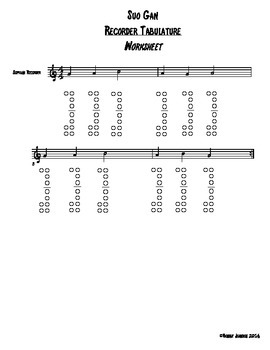 Recorder Tabulature Worksheets - BAG