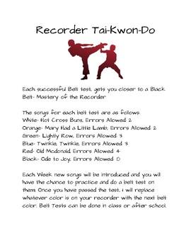 Recorder Tai-Kwon-Do Information Worksheet