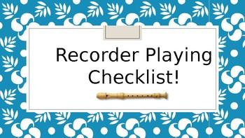 Recorder Technique Checklist Posters