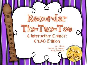 Recorder Tic Tac Toe: C'BAG Edition