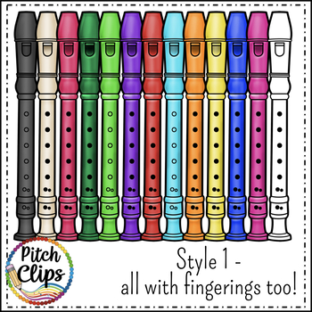 Recorder clipart (clipart) 2 styles, and Recorder Fingering Chart clipart too