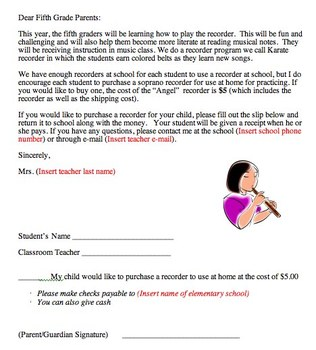 Recorder letter to parents for purchasing recorder in Engl
