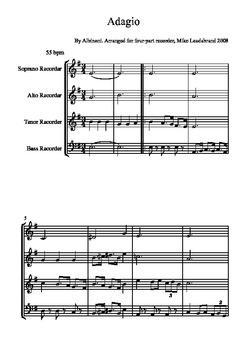 Recorder music Adagio by Albinoni for four-part recorder ensemble