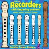Recorder Clip Art | Recorder Fingering Chart Clipart