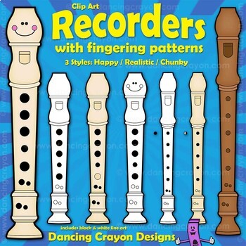 Recorder Clipart and Recorder Fingerings Clip Art