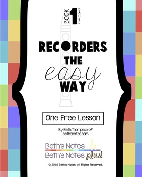 Recorders the Easy Way Book 1 (E, D, G, A, B) - One Free Lesson