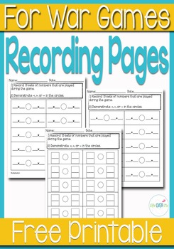 """Recording & Assessment Pages for """"War"""" card games/math centers"""