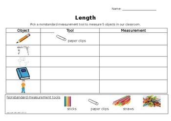 Recording Length Worksheet