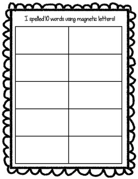 Recording Sheets For Magnetic Letter Activities!