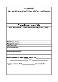 Recording Sheet for Materials exploration