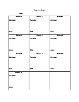 Recording Sheet for Perimeter/Area