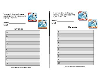 Recording Sheet to use with Cimo Spelling