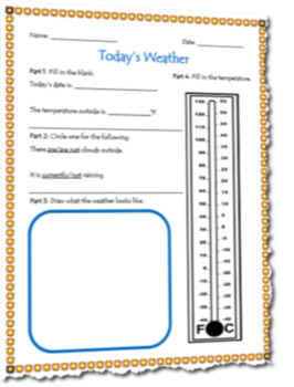 Recording Today's Weather Graphic Organizer Template