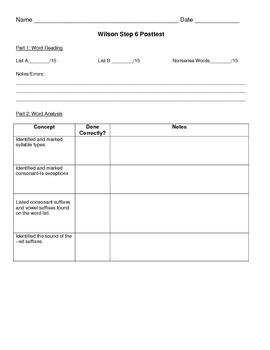 Recording form for Wilson Steps 5-7 Test