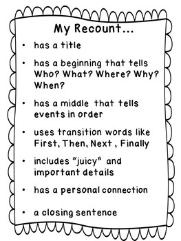 Recount Detective - Recount Writing Student Plan, Success Criteria, and Rubric