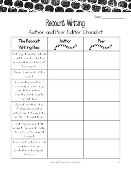 Recount Writing-Activities, Organizers, Prompts and Rubrics