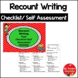 Recount Writing Checklist/Self Assessment Freebie