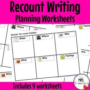 Recount Writing/ Newstelling Planning Worksheets