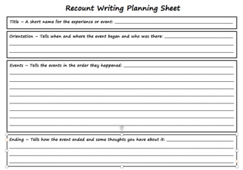 Recount Writing Planning Guide