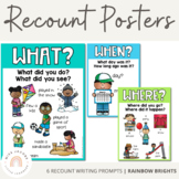 Recount Writing Poster Prompts {Rainbow Theme}