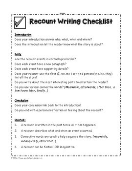 Recount Writing Packet and Teaching Ideas