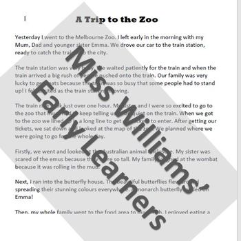 Recount sample Grade 2- A trip to the Zoo