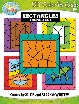 Rectangle 2D Shapes Color By Code Clipart {Zip-A-Dee-Doo-Dah Designs}