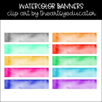 Rectangle Banner Accent Watercolor Clip Art