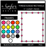 Rectangle Bead & Thread Frames Clipart {A Hughes Design}