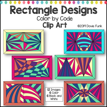 Rectangle Designs Color by Code Clip Art