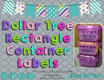 Rectangle Dollar Tree Container Labels for 46 Lock Top - Blue Edition