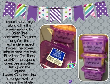 Rectangle Dollar Tree Container Labels for 46 Lock Top - Purple Edition