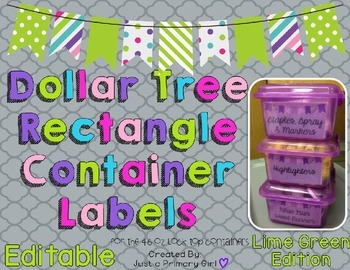 Rectangle Dollar Tree Container Labels for 46oz Lock Top - Lime Green Edition