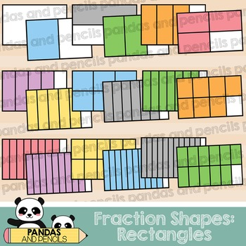 Rectangle Fractions Clip Art (Thick Lines)