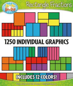 Multicolor Rectangle Fractions Clipart Set – Includes 1250 Graphics!