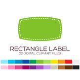 Rectangle Label Clipart - 22 digital rectangle labels / 4x