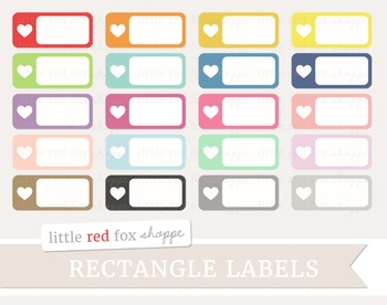 Heart Rectangle Label Clipart; Sticker, Frame, Valentines Day
