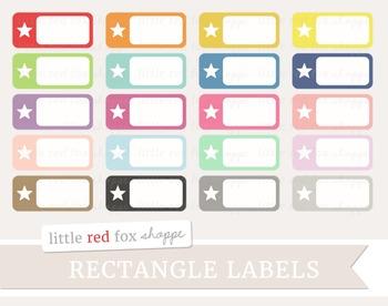 Star Rectangle Label Clipart; Sticker, Frame