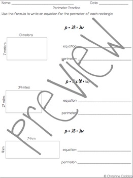 Math Unit: Formula for the Perimeter of a Rectangle