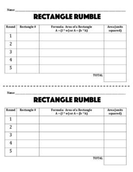 Rectangle Rumble - A 2-Player Game to Practice Finding the Area of Rectangles