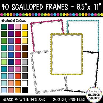 Rectangle Scalloped Borders and Frames Clip Art - 40 Colorful Rectangle Frames