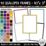 Rectangle Scalloped Borders and Frames Clip Art - 40 Color