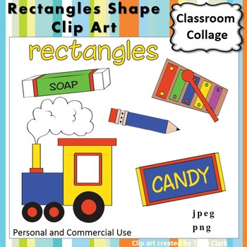 Rectangle Shape Clip Art  Color  personal & commercial use