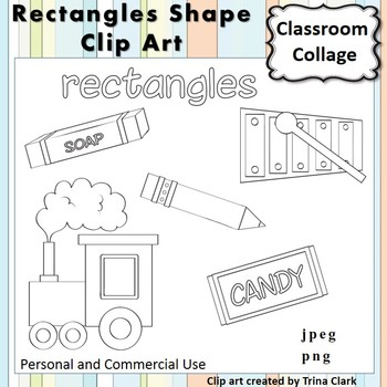 Rectangle Shape Clip Art line drawing B/W personal & comme